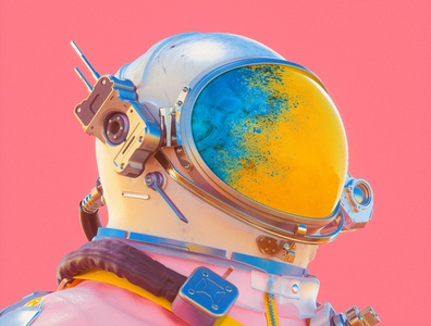 Cosmo rocket stars yellow pink cosmonaut astronaut spacesuit scifi space blue colourful abstract cinema 4d render 3d