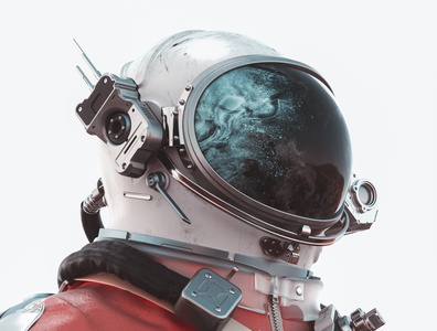 Cosmo - White black stars sciencefiction cold metal white red cosmonaut astronaut spacesuit space scifi abstract cinema 4d render 3d