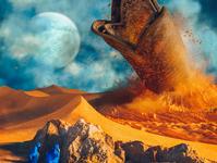 Dune 2020 bookcover book film moon space desert sandworm dune2020 dune retro scifi blue orange cinema 4d render 3d