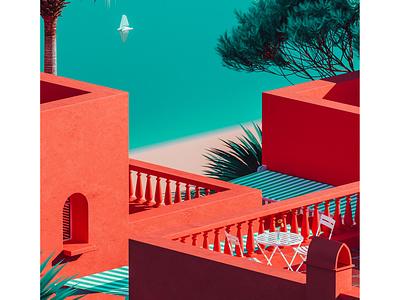 Playa Vista beach house balcony architecture view beach mediterranean summer vintage blue orange colourful cinema 4d 3d