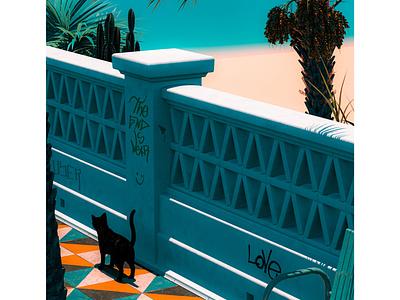 Passing By shade shadow cactus graffiti cat palm tree wallpaper tiles walk beach architecture mediterranean summer vintage blue orange colourful cinema 4d render 3d