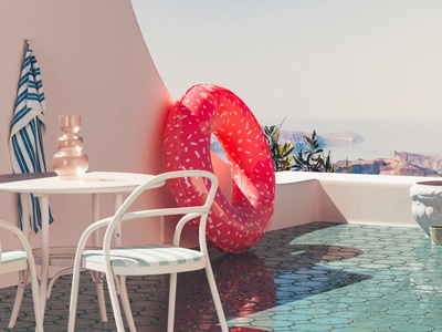 Day Off - Ibiza spain ibiza vacation holiday relax shadow shade rubber ring inflatable balcony sea ocean mediterranean summer vintage blue colourful render cinema 4d 3d