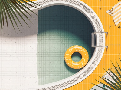 D - 36 Days of Type 08 inflatable poolart pool 36daysoftype08 36daysoftype mediterranean colourful blue orange summer vintage abstract cinema 4d render 3d