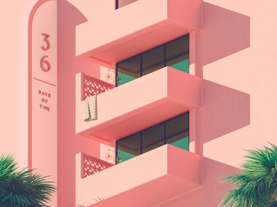D - 36 Days of Type 08 adobe illustration pink mediterranean summer vintage colourful cinema 4d render 3d