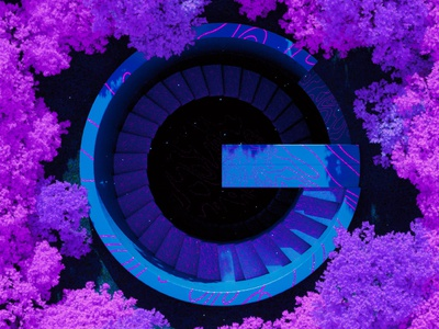 G -  36 Days of Type 08 36daysoftype scifi mystic woods magic forrest stairs architecture design blue abstract cinema 4d render 3d