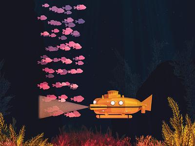 L - 36 Days of Type 08 ocean sea aquatic fish thelifeaquatic submarine steve zissou life aquatic wesandersonart wes anderson vintage render cinema 4d 3d