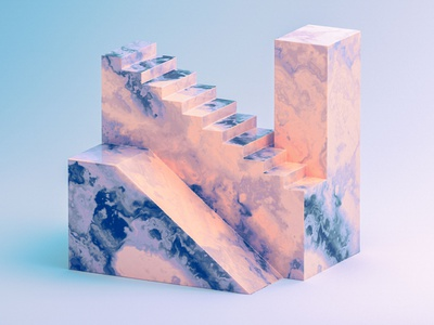 N - 36 Days of Type 08 36daysoftype08 edges clean peach smoke marble steps stairs architecture vintage blue colourful abstract cinema 4d render 3d