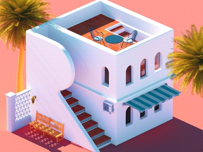 R - 36 Days of Type 08 36dayoftype 36daysoftype08 windows shadow steps palmtree vacation holiday europe villa architecture 36daysoftype mediterranean summer design vintage abstract cinema 4d render 3d