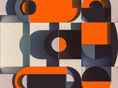 3 - 36 Days of Type 08 36daysoftype08 depth circle shapes bauhaus orange blocks block geometric illustration design colourful cinema 4d render 3d