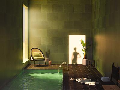 4 - 36 Days of Type 08 36daysoftype light shadows water architecture interior interiordesign green tiles spa pool summer vintage cinema 4d 3d