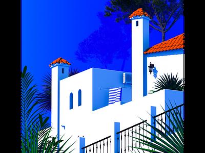 Chiminea - Dos architecture illustration summer orange blue europe spain holiday villa travel poster vintage poster poster design vintage cinema 4d