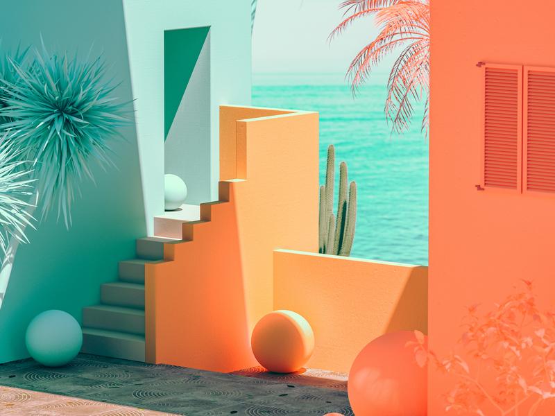 Muralla Roja architecture sea mediterranean spain illustration render design colourful abstract 3d