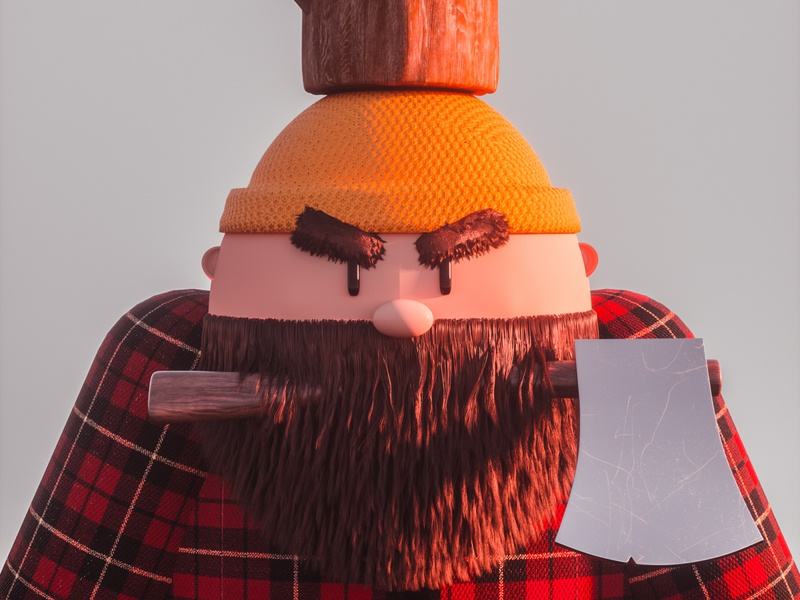 Lumberjack hairy beard hat tartan red yellow angry vintage cartoon character cartoon man axe tree forest wood lumberjack cinema 4d colourful render 3d