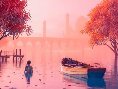 India asia nature trees fog bridge water swim girl woman riverboat orange red river indian taj mahal india cinema 4d colourful render 3d