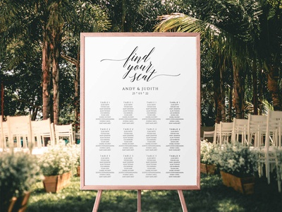 Free Modern Wedding Seating Chart Sign Template