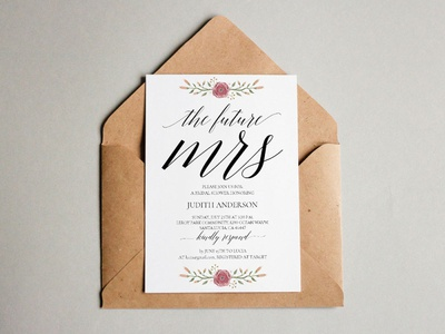 Free Rose Bridal Shower Invitation Template