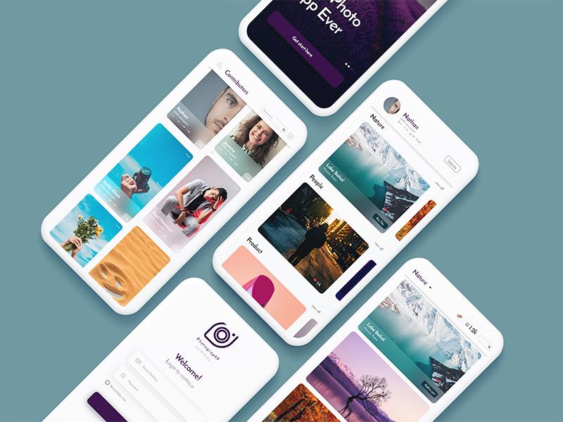 Free Photo Portfolio App UI Template mobile app freebie freebies mobile ui free app free apps ui mobile app design ux ui uiux interface