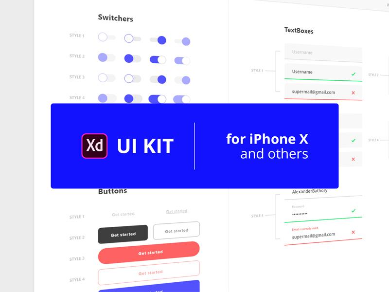 Free UI Kit For Iphone X mobile app mobile app ux uiux freebies freebie ui design interface