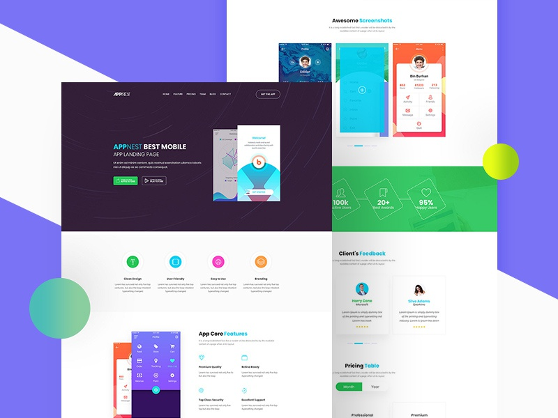 Free Simple App Landing Page Template app landing page landing page free landing page landingpage freebies freebie ui design interface