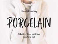 Porcelain - free hand-lettered condensed sans serif font
