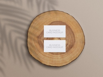 Free Business Cards Mockup on a Wood Slice