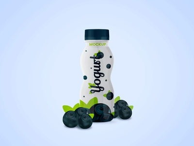 Free Yogurt Bottle  Mockup