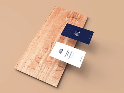 Free Business Cards Mockup Above Wood