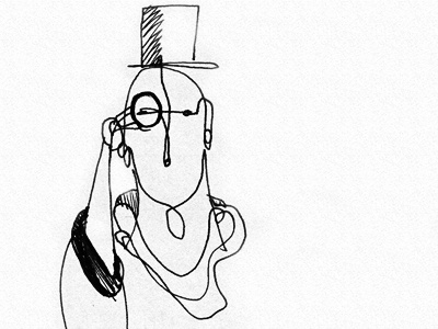 The Gentleman sketch black  white drawing