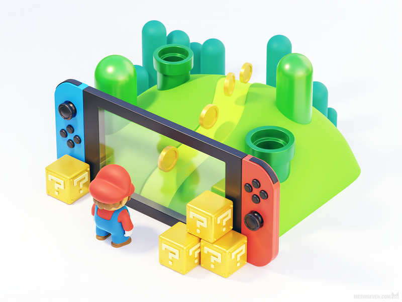 Making the Switch — 3D illustration featuring Mario illustration console handheld graphics game cartoon cute gaming scenery landscape switch nintendo 3d mario