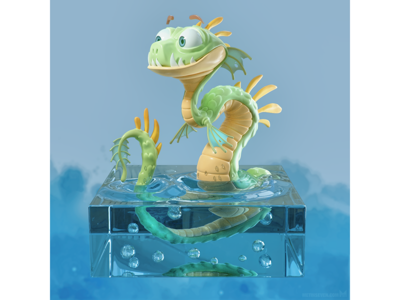 Sea dragon cartoon luxcorerender b3d blender3d blender characterdesign design character rendering 3d dragon snake water monster sea