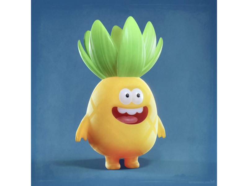 Happy pineapple lachend smiling ontwerp design karakter character vrolijk happy schattig kawaii cute fruit ananas pineapple