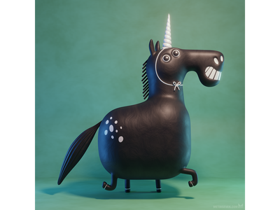 I'm a unicorn! eevee b3d blender3d blender illustrator illustration 3d characterdesign design character cartoon crazy funny whimsical horn unicorn horse