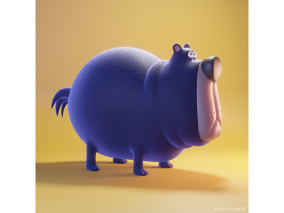 Cartoon-style 3D bear character illustration illustrator modeler rendering 3d eevee b3d blender3d blender whimsical funny cartoon characterdesign design character bear