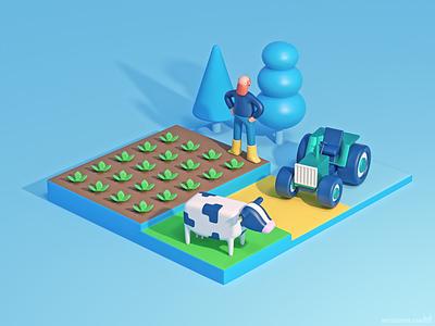 Stylized 3D banner illustration b3d blender3d blender illustratie illustrator illustration banner tractor koe cow boer farming farmer agriculture agricultural