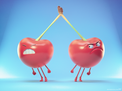 Attached 🍒 octanerender b3d blender3d zbrush 3d illustratie illustrator illustration design characterdesign characters kersen cherries cherry