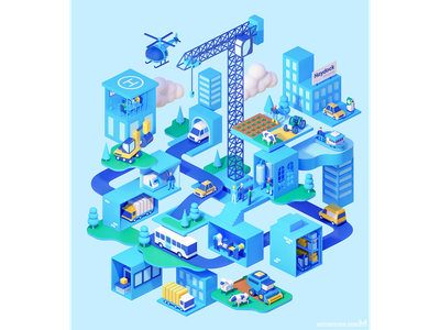 Stylized isometric 3D infographics illustration cars roads traffic industry buildings city isometrisch. isometric 3d illustrator illustratie illustration infographics
