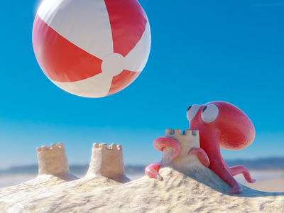 Imminent impact 😱 illustrator illustration 3d b3d blender3d blender castle sand sandcastle squid ball beach beachball octopus