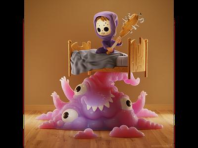 Monster Under The Bed b3d blender3d 3d illustrator illustration bedroom bat bed boy monster