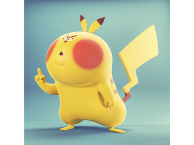 Don't mess with the Pika ☝ illustrator illustration b3d blender3d 3d design character cartoon pokemon pikachu