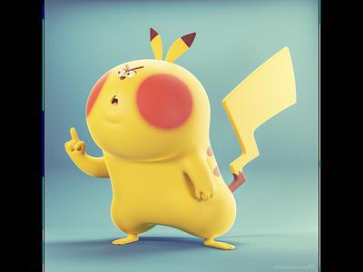 Don't mess with the Pika ☝ illustrator illustration b3d blender3d 3d design character cartoon pokemon pikachu