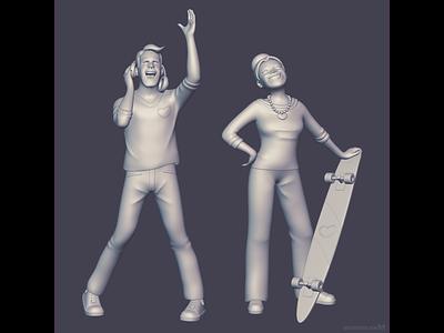 Healthy middle-agers 💪 zbrush design skateboarder skater discjockey dj 3dmodels 3dmodeling sculptor 3dmodeler b3d 3d