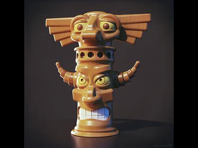3D tiki totem character design 🗿 illustration magicacsg 3d statue characterdesign design character totem tiki