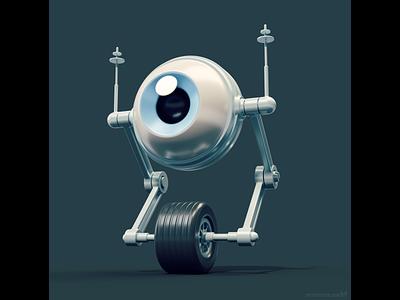 Wi-Feye robot character concept 🤖 conceptart characterdesign design character magicacsg 3d unicycle wheel eye wifi robot