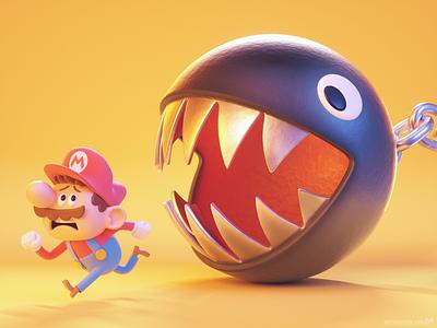 Mario Chain Chomp chase 🏃♂️ illustration