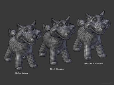 3D-Coat vs. ZBrush auto-retopology comparison