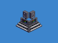 Electronic music altar — isometric pixel art