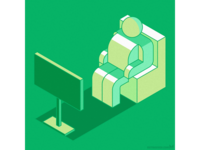 TV viewer — stylized isometric illustration