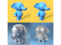 3D elephant toy character designs