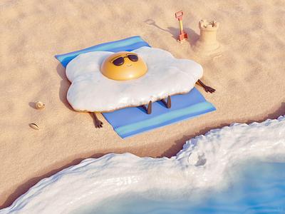 Fried — 3D artwork 3d rendering cute fun 3d artist illustrator illustration artwork art stylized 3d cartoony cartoon seashore sea sand beach egg fried