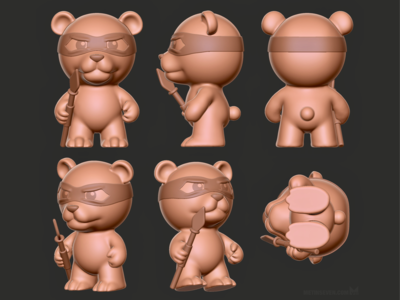 Bear toy model for a collectibles producer